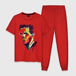 Пижама хлопковая мужская Lionel Messi: fun-art цвета красный — фото 1