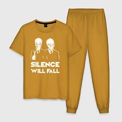Пижама хлопковая мужская The Silence will fall цвета горчичный — фото 1