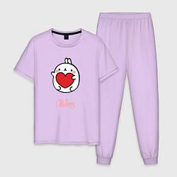 Пижама хлопковая мужская Влюбленный Кролик Моланг цвета лаванда — фото 1