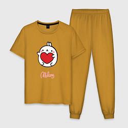 Пижама хлопковая мужская Влюбленный Кролик Моланг цвета горчичный — фото 1