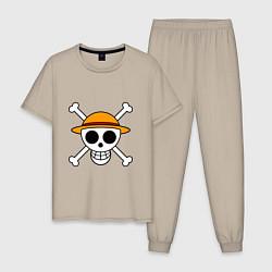 Пижама хлопковая мужская Весёлый Роджер Мугивар цвета миндальный — фото 1