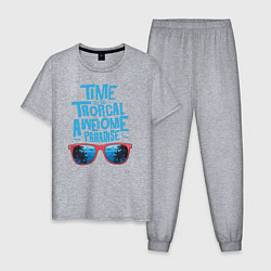 Пижама хлопковая мужская Tropical Awesome Paradise цвета меланж — фото 1