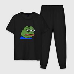Пижама хлопковая мужская Sad frog цвета черный — фото 1