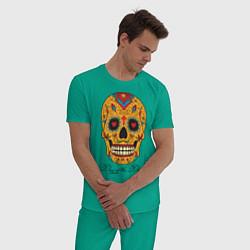Пижама хлопковая мужская Мексиканский череп цвета зеленый — фото 2