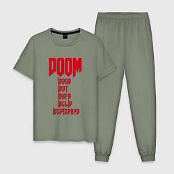 Пижама хлопковая мужская DOOM: Idspispopd цвета авокадо — фото 1