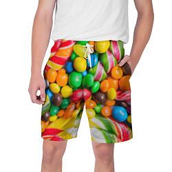 Шорты на шнурке мужские Сладкие конфетки цвета 3D — фото 1