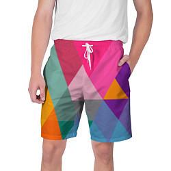 Шорты на шнурке мужские Разноцветные полигоны цвета 3D — фото 1