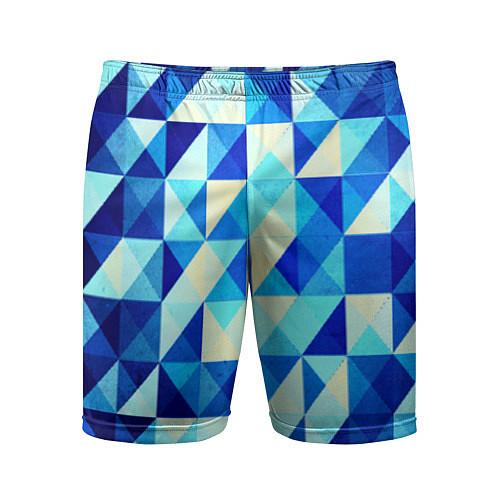 Мужские спортивные шорты Синяя геометрия / 3D – фото 1