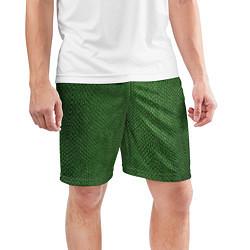 Шорты спортивные мужские Змеиная зеленая кожа цвета 3D — фото 2
