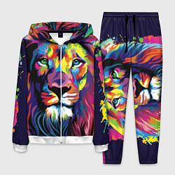 Костюм мужской Красочный лев цвета 3D-белый — фото 1