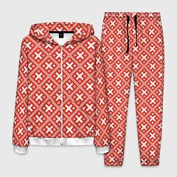 Костюм мужской Обережная вышиванка: красно-белая цвета 3D-белый — фото 1