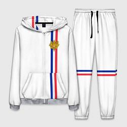 Костюм мужской Франция: лента с гербом цвета 3D-меланж — фото 1