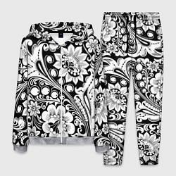 Костюм мужской Хохлома черно-белая цвета 3D-меланж — фото 1