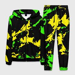 Костюм мужской Желто-зеленый цвета 3D-черный — фото 1