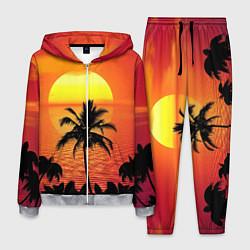 Костюм мужской Пальмы на фоне моря цвета 3D-меланж — фото 1