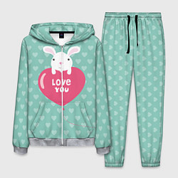 Костюм мужской Rabbit: Love you цвета 3D-меланж — фото 1