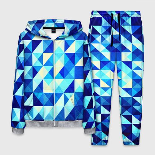 Мужской костюм Синяя геометрия / 3D-Меланж – фото 1