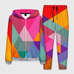 Костюм мужской Разноцветные полигоны цвета 3D-меланж — фото 1