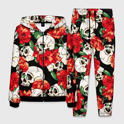 Костюм мужской Черепки и розы цвета 3D-черный — фото 1