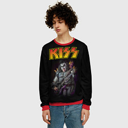 Свитшот мужской KISS: Gene Simmons цвета 3D-красный — фото 2