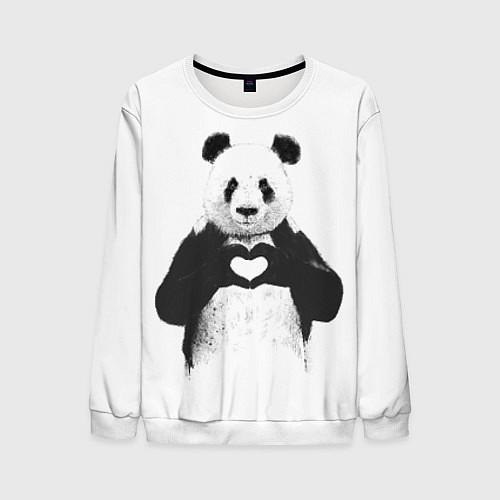 Мужской свитшот Panda Love / 3D-Белый – фото 1
