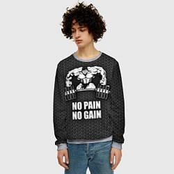 Свитшот мужской No pain, no gain цвета 3D-меланж — фото 2