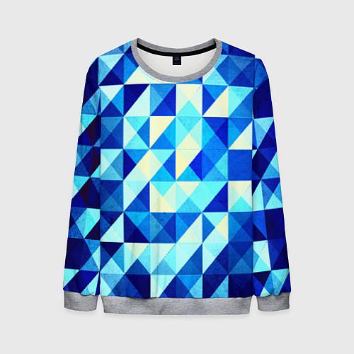 Мужской свитшот Синяя геометрия / 3D-Меланж – фото 1