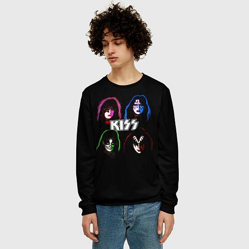 Мужской свитшот KISS: Acid Colours / 3D-Черный – фото 3