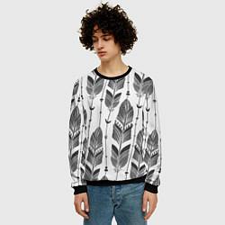 Свитшот мужской Перья цвета 3D-черный — фото 2
