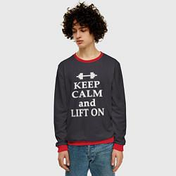 Свитшот мужской Keep Calm & Lift On цвета 3D-красный — фото 2