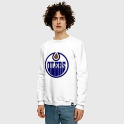 Свитшот хлопковый мужской Edmonton Oilers цвета белый — фото 2