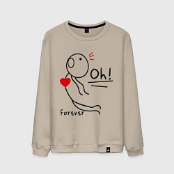 Свитшот хлопковый мужской Oh: Forever цвета миндальный — фото 1