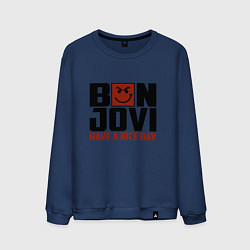 Свитшот хлопковый мужской Bon Jovi: Nice day цвета тёмно-синий — фото 1