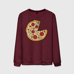 Свитшот хлопковый мужской Пицца парная цвета меланж-бордовый — фото 1