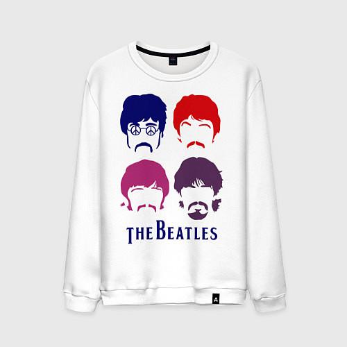 Мужской свитшот The Beatles faces / Белый – фото 1