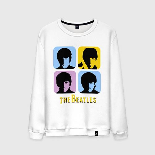 Мужской свитшот The Beatles: pop-art / Белый – фото 1