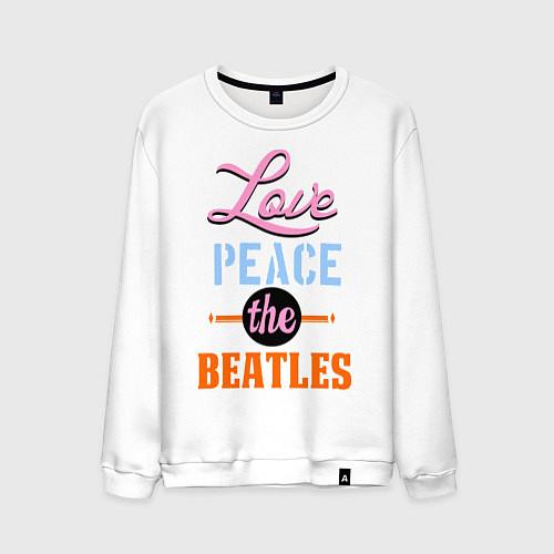 Мужской свитшот Love peace the Beatles / Белый – фото 1