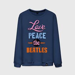Свитшот хлопковый мужской Love peace the Beatles цвета тёмно-синий — фото 1