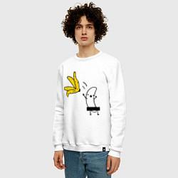Свитшот хлопковый мужской Банан стриптизер цвета белый — фото 2