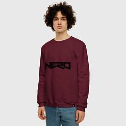 Свитшот хлопковый мужской Nero цвета меланж-бордовый — фото 2