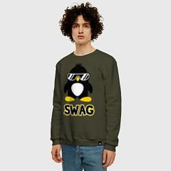 Свитшот хлопковый мужской SWAG Penguin цвета хаки — фото 2