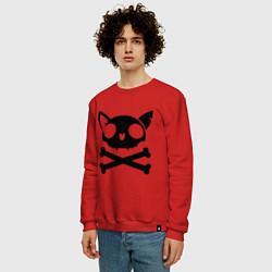 Свитшот хлопковый мужской Кошачий пиратскй флаг цвета красный — фото 2