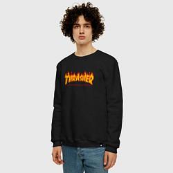 Свитшот хлопковый мужской Thrasher Magazine: Flame Fire цвета черный — фото 2