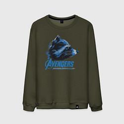Свитшот хлопковый мужской Rocket Racoon: Avengers цвета хаки — фото 1