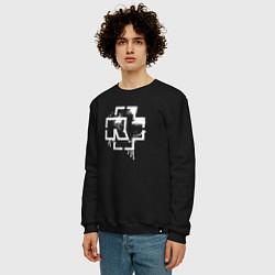 Свитшот хлопковый мужской Rammstein: White Logo цвета черный — фото 2