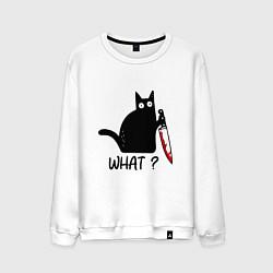 Свитшот хлопковый мужской What cat цвета белый — фото 1