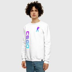 Свитшот хлопковый мужской CS GO NEON цвета белый — фото 2