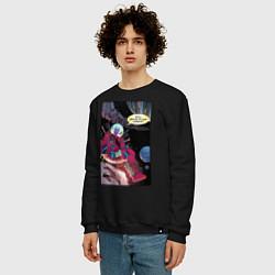 Свитшот хлопковый мужской Deadpool в космосе цвета черный — фото 2