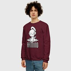 Свитшот хлопковый мужской Armind цвета меланж-бордовый — фото 2