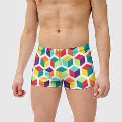 Мужские плавки 3D кубы цвета 3D — фото 2